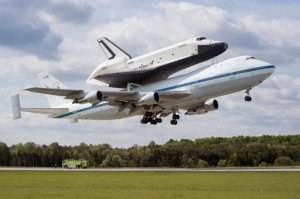 Space Shuttle riding 747